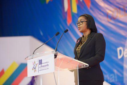 Rose Christiane Ossouka Raponda, lors de l'ouverture du colloque international de Brazzaville, le 27 octobre 2020. © Com. gouvernementale