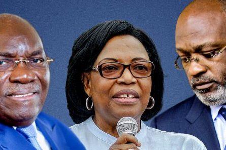 Zacharie Myboto (à gauche) et les deux prétendants à sa succession à la tête de l'UN. © Jeune Afrique