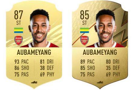 Comparatif des notes de Pierre-Emerick Aubameyang sur FIFA 2021 et 2022. © D.R.