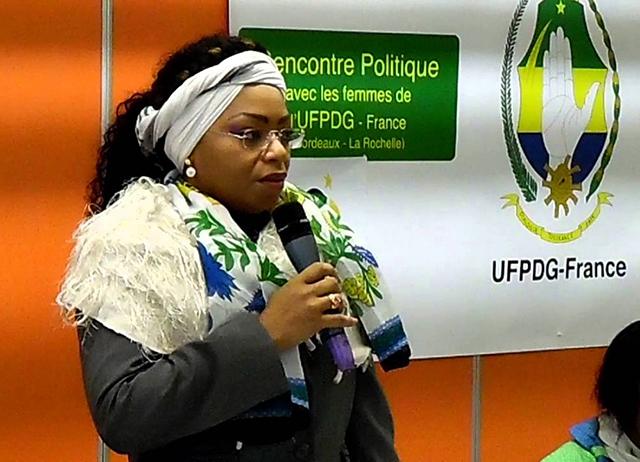 Alors présidente de l'UFPDG, Annie-Chrystel Limbourg Iwenga à Bordeaux (France) en janvier 2016. © youtube