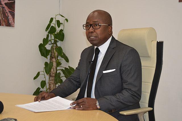 Alain-Claude Billie-By- Nzé lors de sa conférence de presse du 27 février 2018. © Gabonreview