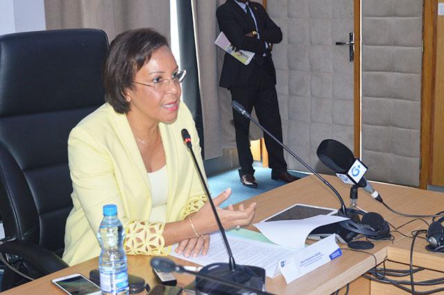Madeleine Berre au lancement des travaux du séminaire sur les travaux relatifs à l'adoption du Code des investissements, le 13 septembre 2018 à Libreville. © Gabonreview