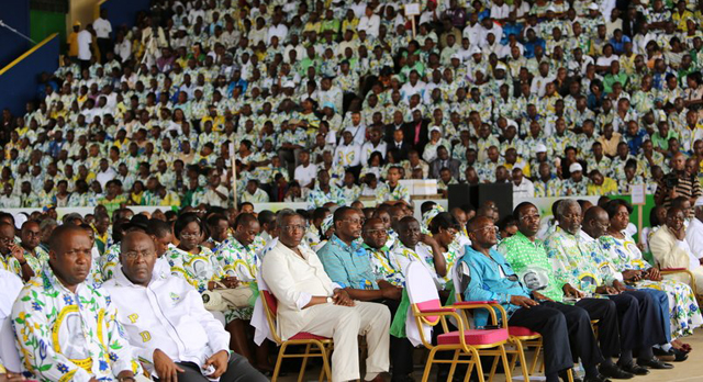 Le PDG, lors de son 10è congrès en avril 2013. © Facebook/alibongoondimba