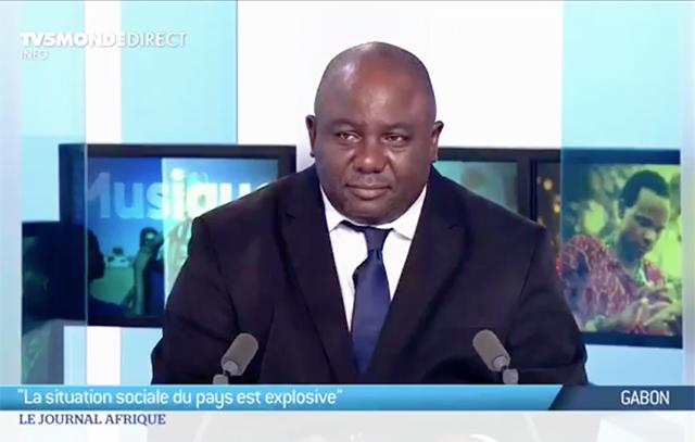 Jean Remy Yama sur le plateau du journal Afrique sur TV5Monde, le 28 janvier 2018. © Capture d'écran / facebook.com/JTAfrique