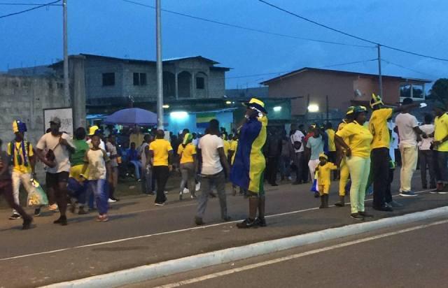 Les supporters des Panthères, avant le rencontre Gabon-Cameroun, le 22 janvier 2017 © Les Panthères du Gabon